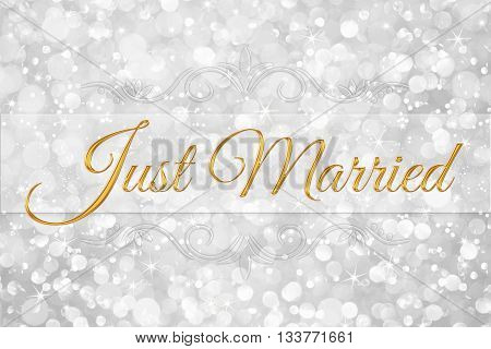 Just Married word on white silver glitter bokeh abstract background