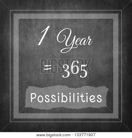 1 Year = 365 Possibilities inspire quote