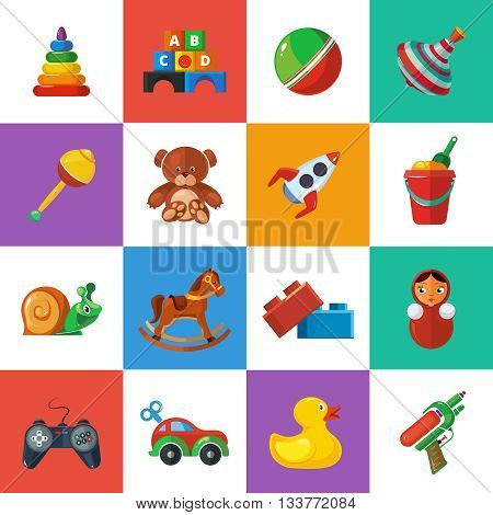 Toys icons for kids isolate on white background. Toys vector illustrations pack. Cartoon toys set