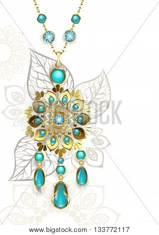 Gold Medallion decorated in oriental style on a light turquoise patterned background. Jewelry Design. Gold Jewelry. Oriental pattern. Boho Style.