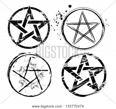 set of pentagrams painted in black on a white background. Magic star. Style sketch. Hand drawing. Grunge texture