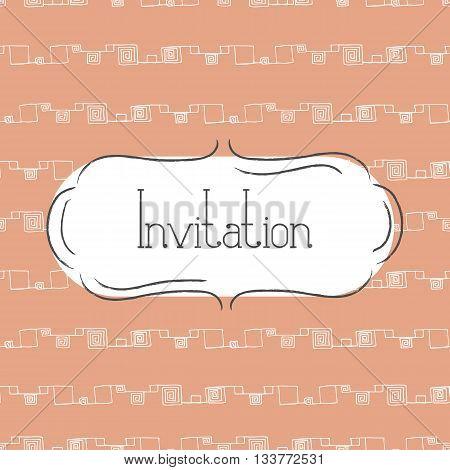 Vector illustration of vintage background and frame. Template for greeting card wedding invitation or menu. Tender orange color.