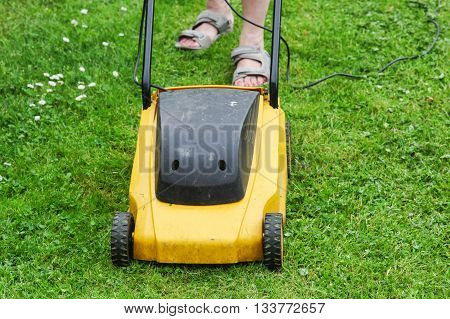 Woman moves with lawnmower and mows green grass