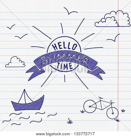 White lined sheet of notepad paper background. Vector illustration of childrens picture. Hello summertime. School break illustration.
