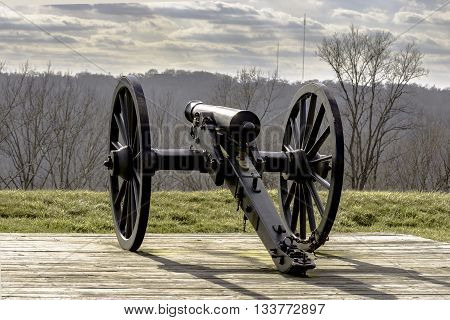 Boonesboro, Kentucky, February 26, 2016: Cannon found at the earthen Civil War fort remaining atop the mountain.