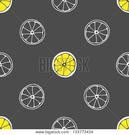 Vector seamless pattern with hand drawn slices of lemon. Grey background and yellow limon.