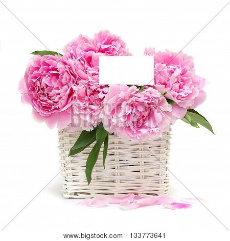 Gift. Flowers and a white blank with copyspace for text