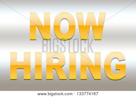 Now hiring yellow word on grey background