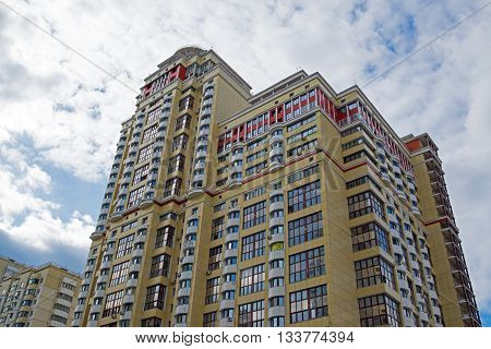 Krasnogorsk, Russia - April 22, 2015. A Modern high-rise new apartment buildings