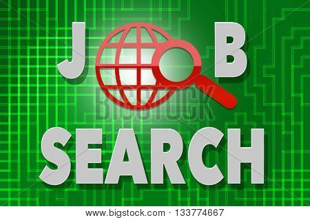 Job Search word - on green background