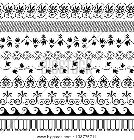 Set of brushes to create the Greek Meander patterns.Greek traditional borders. Decoration elements in black color isolated on white background. Could be used as divider frame etc. Vector illustration