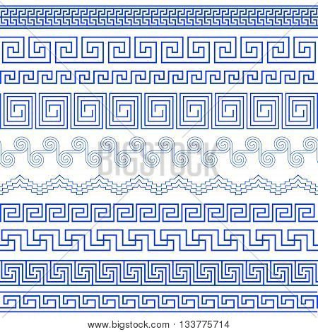 Set of brushes to create the Greek Meander patterns.Greek traditional borders. Decoration elements in blue color isolated on white background. Could be used as divider frame etc. Vector illustration