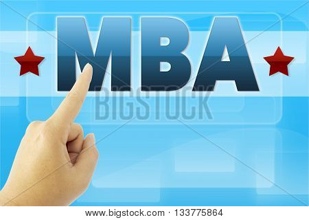 touching MBA sign on blue digital screen