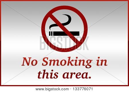 No Smoking In This Area Sign on grey background
