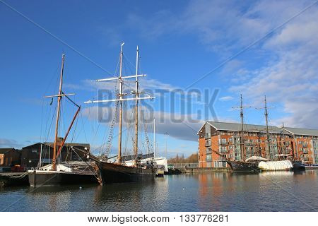 Tall Ships moored in Gloucester Docks, England