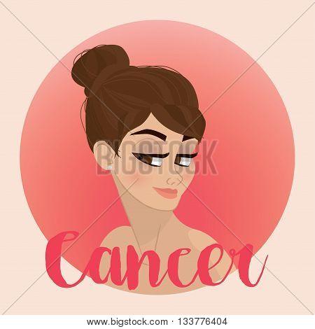 Cancer Zodiac Sign Illustration - horoscope - vector