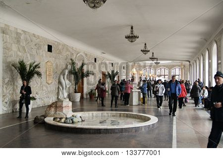 Pyatigorsk, Russia - 1 March, People in the Narzan Gallery,  1 March, 2016. Resort zone Mineral Waters, Krasnodar region. Interior Narzan gallery in mineral waters.