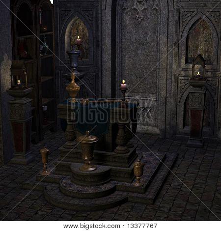 arcaico altar ou santuário em um cenário de fantasia