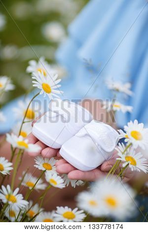 Happy young pregnant woman on a white field of blooming daisies in the highlands, sitting among flowers,wearing a blue sundress ,holding in their hands little baby booties white