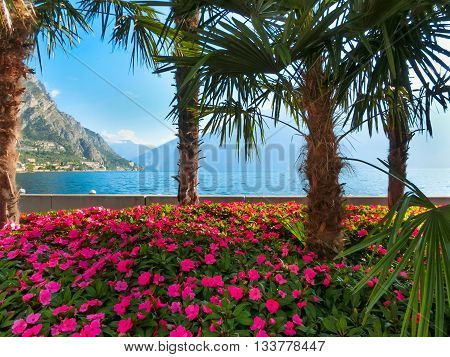 High mountains and walkway on the shore, Lake Garda, Italy, Europe