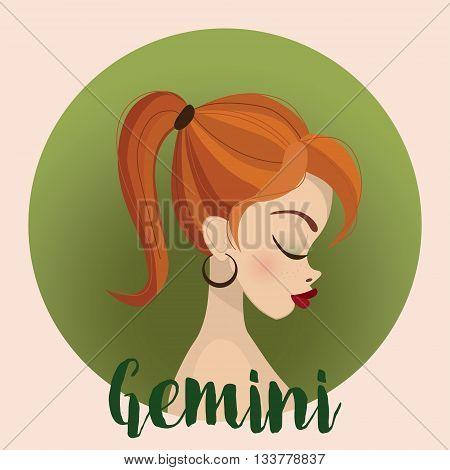 Gemini Zodiac Sign Illustration - horoscope - vector