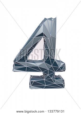 faceted number 4, four, 3d illustration