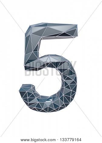 faceted number 5, five, 3d illustration