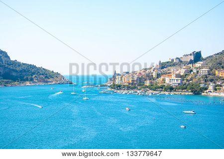 view of italian sea at palmaria and portovenere