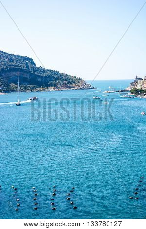 view of italian sea at palmaria from portovenere