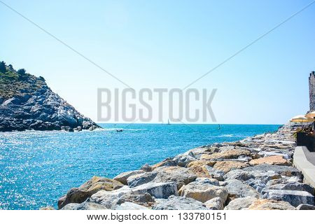 view of italian sea at palmaria and portovenere