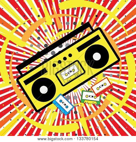 Boombox icon. The explosion of music disco 90s cassette