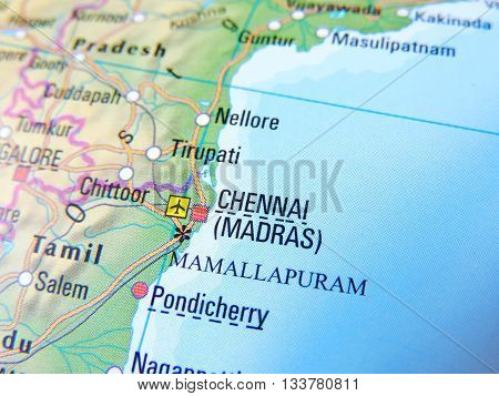 Map with focus set on Chennai, India.