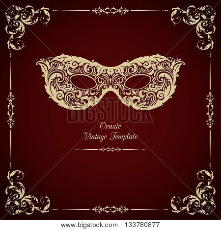 Vector template in vintage style with ornamental mask and frame