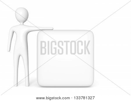 empty white cube with white 3d man 3d illustration