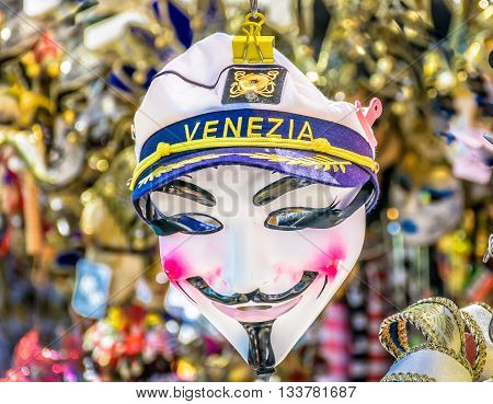 Venetian traditional carnival mask in unique city of Venice, carnival time, Italy.