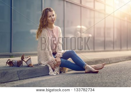 Serious Pretty Trendy Young Woman