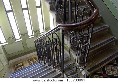 TEL AVIV ISRAEL - APRIL 27 2016: Staircase in the Shiff house - Museum Of Banking And Tel Aviv Nostalgia
