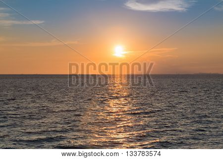 Sunset over seacoast skyline, natural landscape background