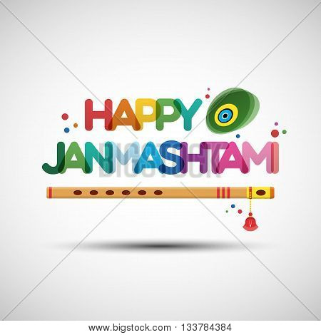 Vector Illustration of Krishna Janmashtami. Greeting card design with creative multicolored transparent text Happy Janmashtami