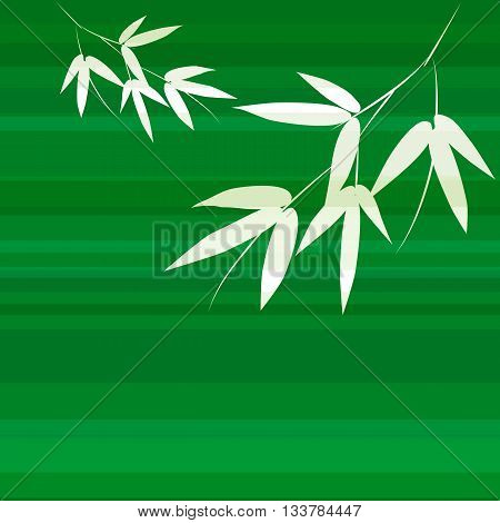Branch and stalk of bamboo on a green background. Striped floral pattern
