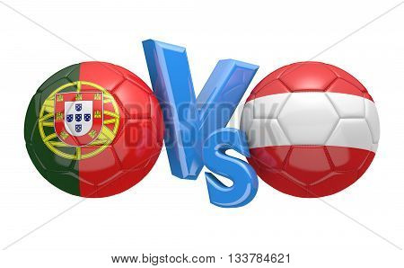 Football competition between national teams Portugal and Austria, 3D rendering