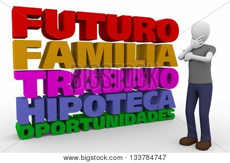 A young man worried and thinking about future family job mortgage and opportunities. Spanish traslation futuro familia trabajo hipoteca oportunidades. 3d illustration 3d render