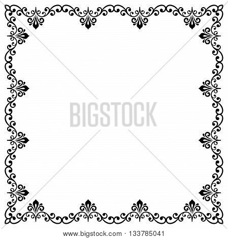 Classic vector square frame with arabesques and orient elements. Abstract fine ornament with place for text. Black and white pattern