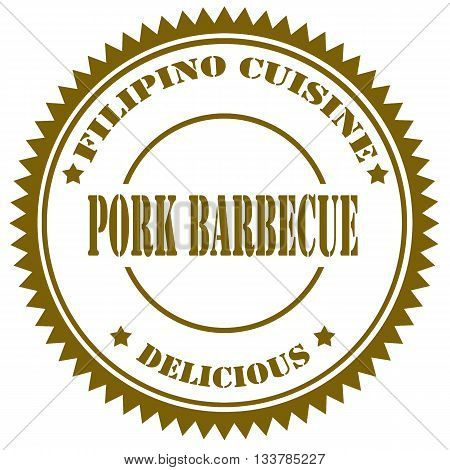 Stamp with text Pork Barbecue, vector illustration