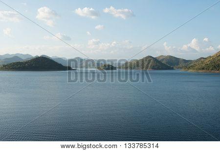 Viewpoint of reservior kangkrajan thailand , nature