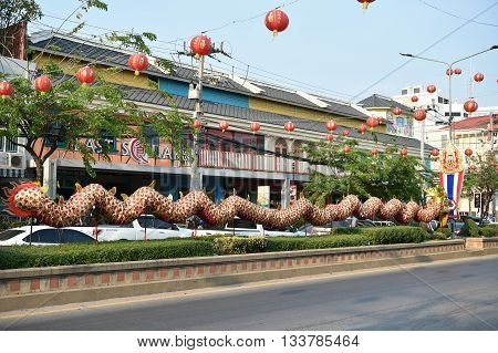 Huahin Thailand - Feb3,2016: Chinese Golden Dragon Celebrate Chinese New Year On Traffic Island At H