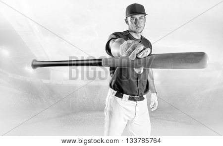Baseball player in action on the stadium.