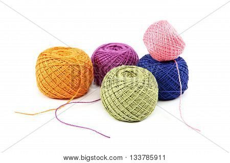 Colored threads isolated on a  white background.