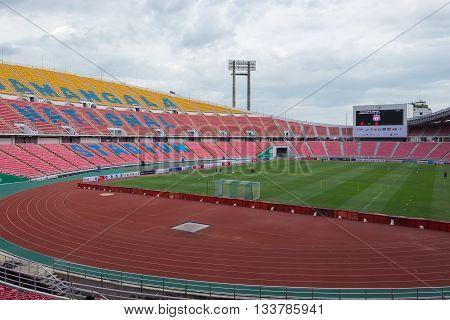 BANGKOK THAILAND - JULY 13: View of Rajamangala Stadium on July 13 2015 in Bangkok Thailand. Rajamangala Stadium is the national stadium of Thailand.
