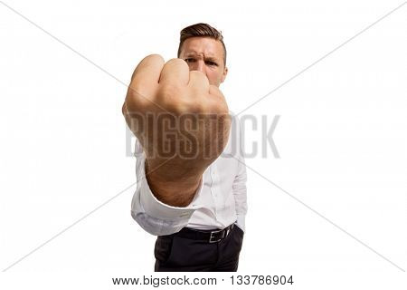 man showing fist